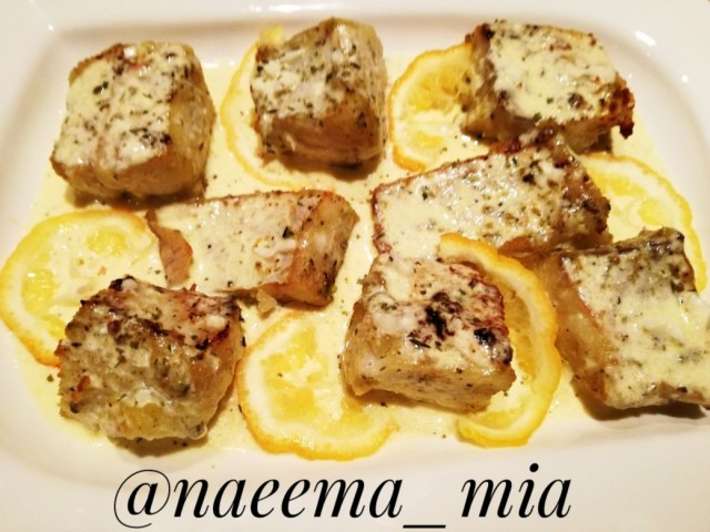 Grilled Fish Fillet With Lemon Butter Cream Sauce