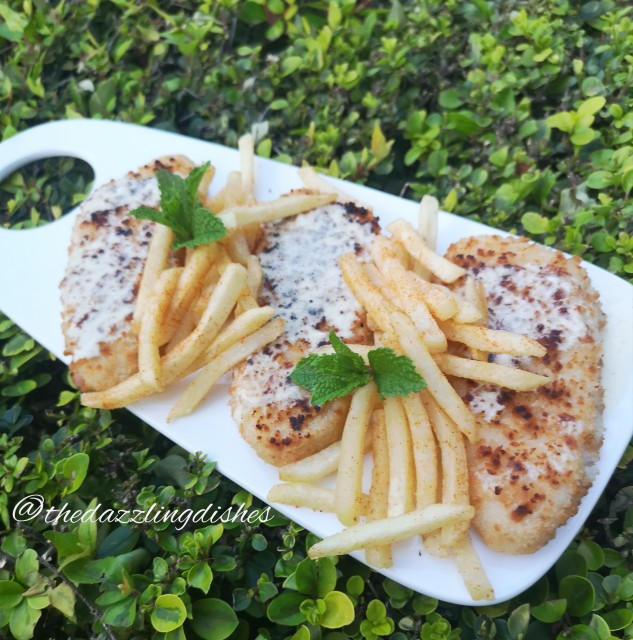 Crumbed Fish With Lemon Butter Garlic Sauce