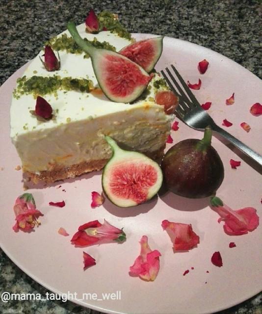 Saffron Mascarpone Fig Cheesecake
