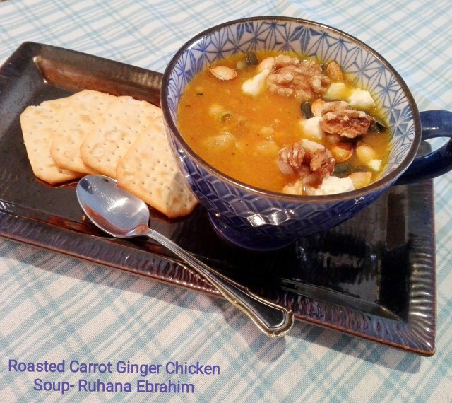 Roasted Carrot Ginger Chicken Soup