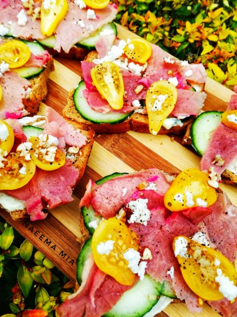 Open Rye Bread Sandwich