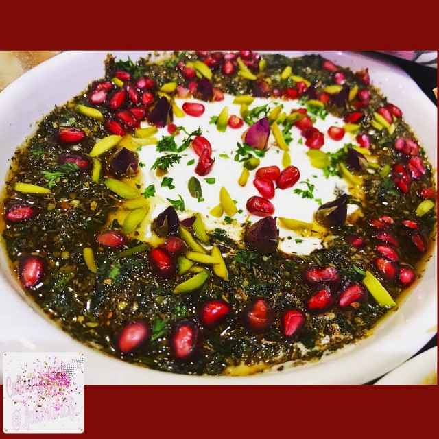 Labneh Dip With Zaatar Pistachio Olive Mint Topping