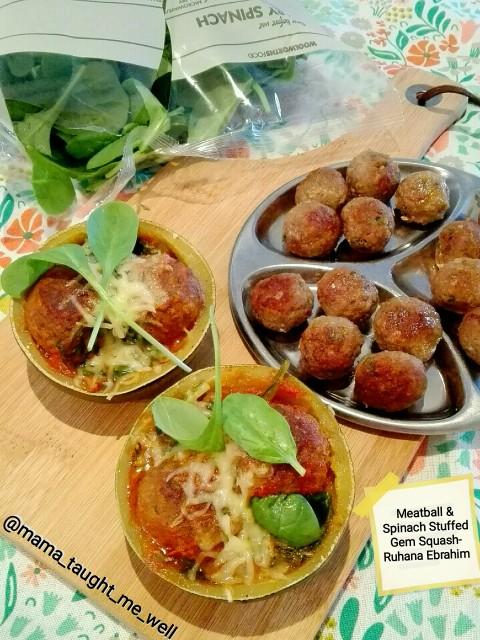 Meatball & Spinach Stuffed Gem Squash
