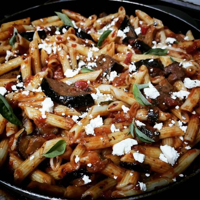 Pasta With Branjal & Tomato Sauce