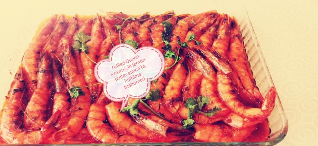 Grilled Pink Queen Prawns With Lemon Butter Sauce