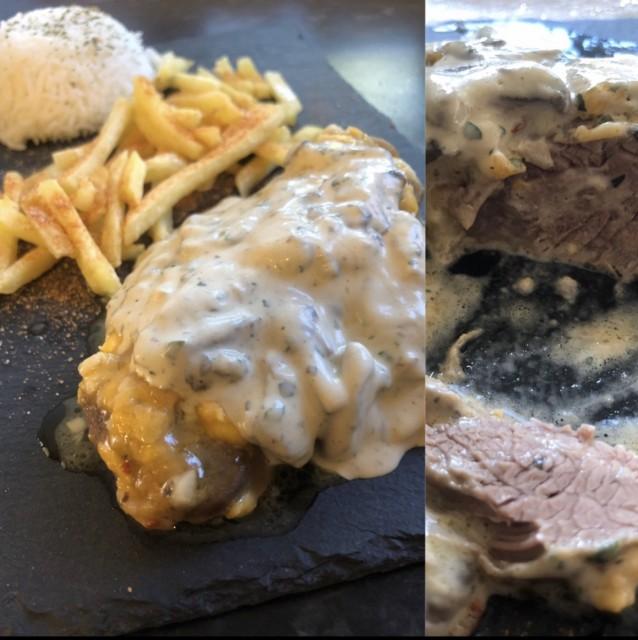 Cheddarmelt Steak With Mushroom Sauce