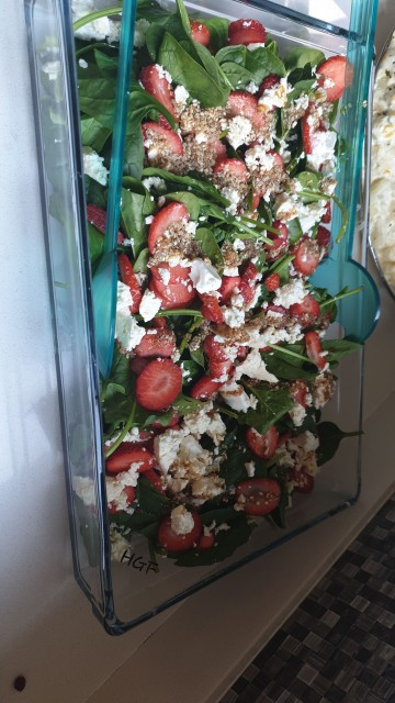 Strawberry Spinach And Feta Salad  With Dressing