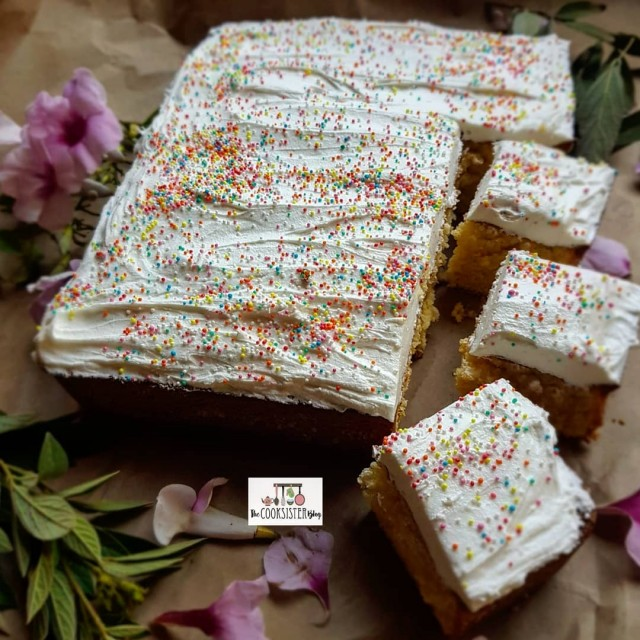Old Fashioned Hot Milk Sponge Cake Topped With White Icing