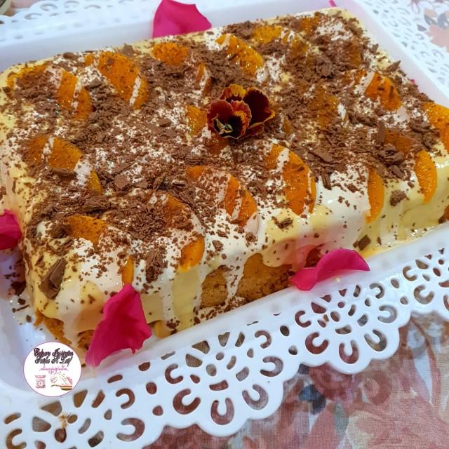 Custard,  Cream & Peach Cake