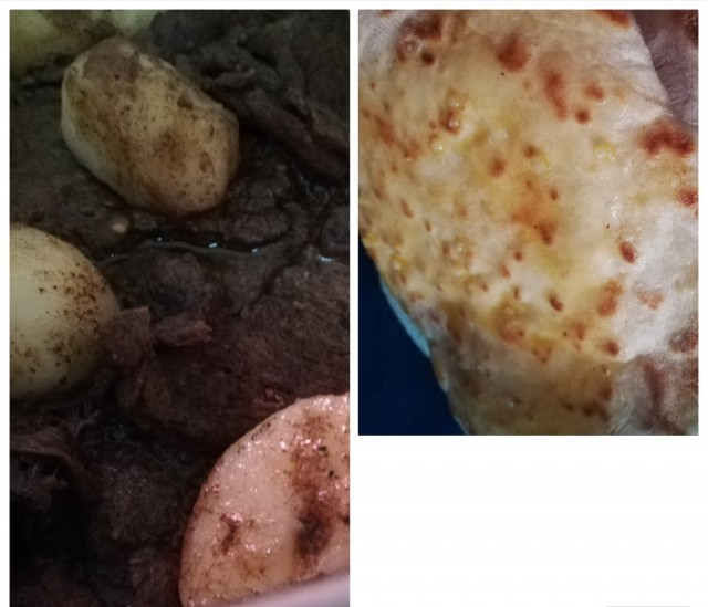 Steaky Fillets/potatoes With Naan