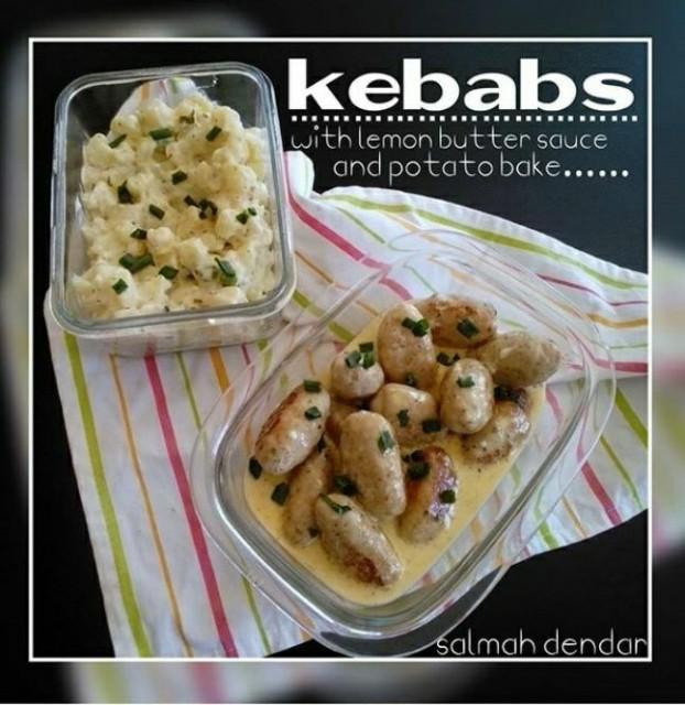 Lemon Butter Kebabs And Potato Bake
