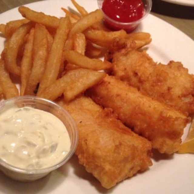 Battered Fish And Chips And Mock Sauce (tartare Sub)