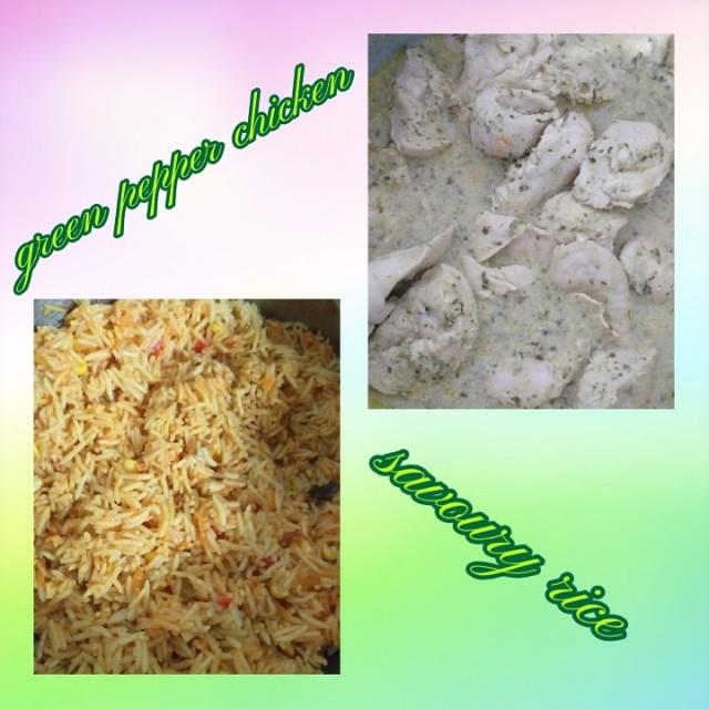 Green Pepper Chicken N Savoury Rice
