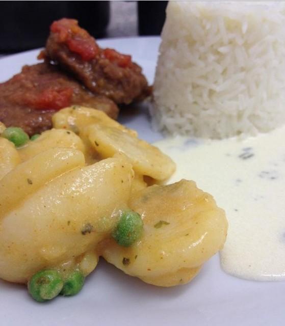 Steak/spicy Potatoes/lemon Butter Sauce/rice